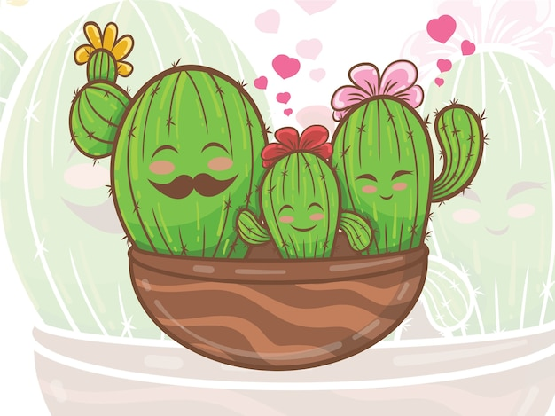 Illustrazione del personaggio dei cartoni animati della famiglia di cactus carino Vettore Premium