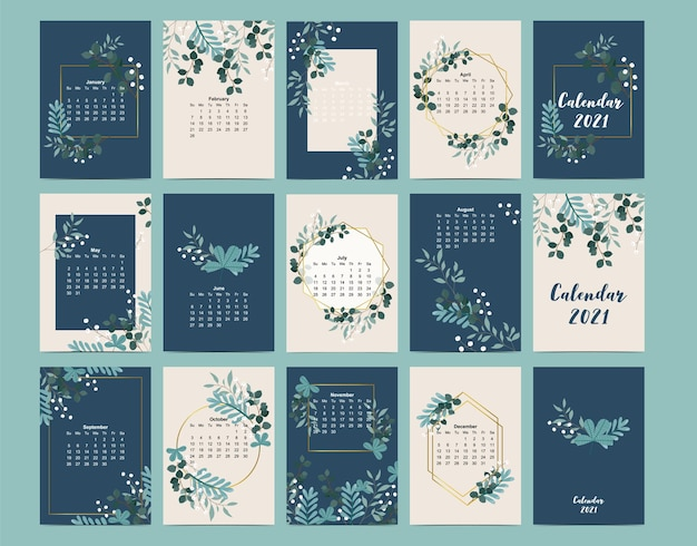 Simpatico calendario 2021 con foglia, fiore, naturale. Vettore Premium