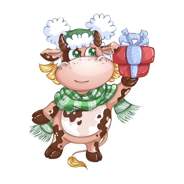 Una graziosa ragazza di vitello con un cappello invernale e una sciarpa a righe porta una confezione regalo con un fiocco. Vettore Premium