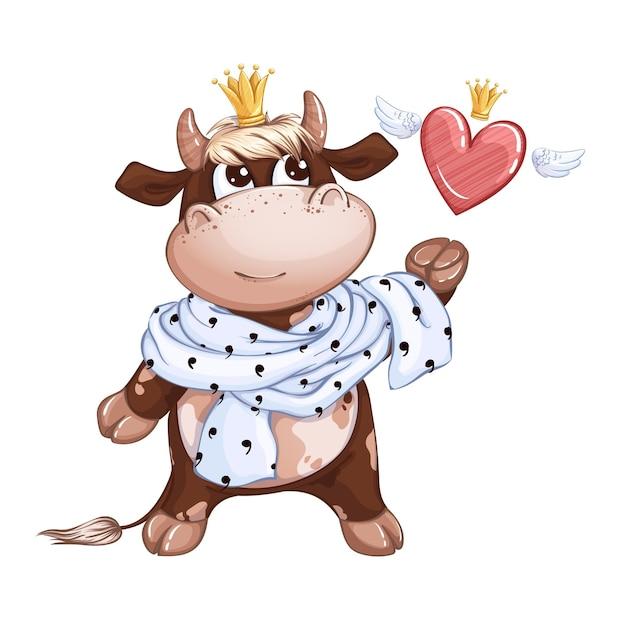 Un simpatico principe vitello con una sciarpa reale al collo cattura un cuore con le ali e una corona. Vettore Premium