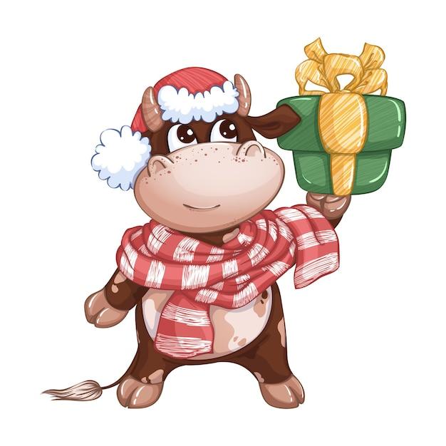 Un simpatico vitello con un cappello rosso e una sciarpa a righe tiene in mano una confezione regalo. carattere invernale festivo. simbolo dell'anno. Vettore Premium