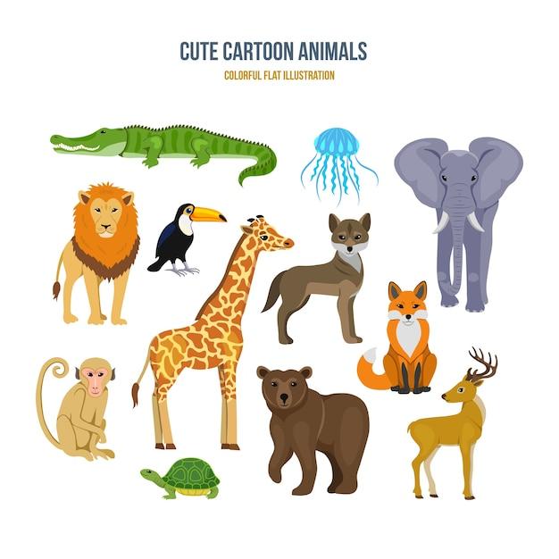 Illustrazione di concetto di animali simpatico cartone animato Vettore Premium