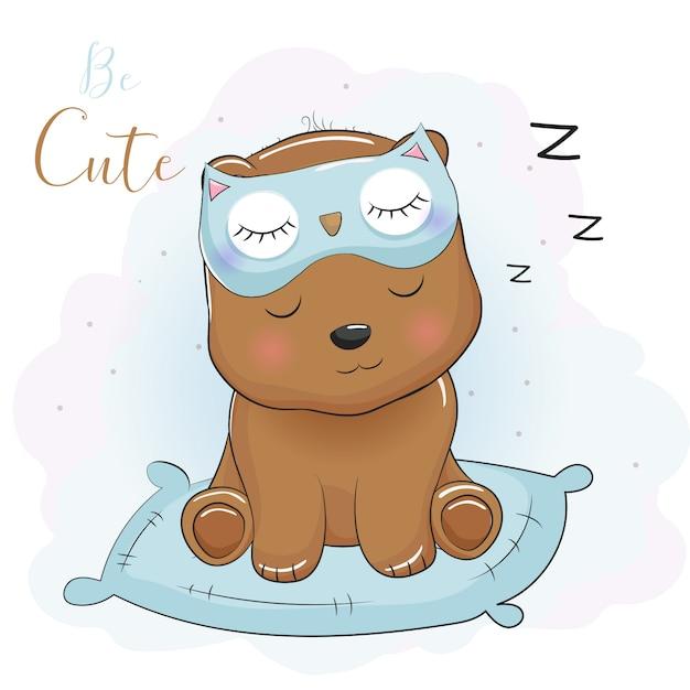 Orso simpatico cartone animato che dorme con maschera per gli occhi Vettore Premium