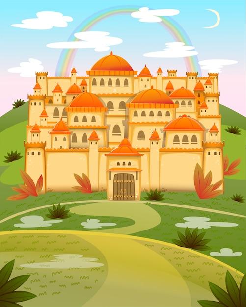 Castello di simpatico cartone animato. fairytale cartoon castle. palazzo di fiaba di fantasia con arcobaleno. illustrazione Vettore Premium