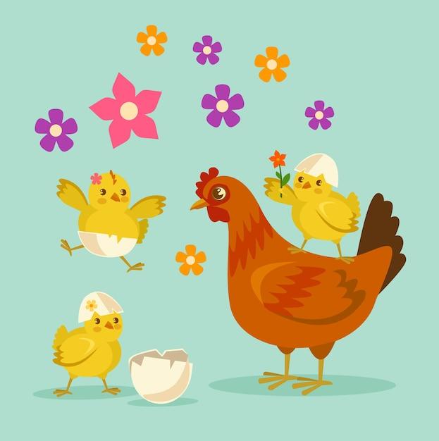 Madre e bambini del pollo sveglio del fumetto. Vettore Premium