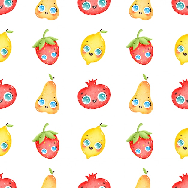 Reticolo senza giunte di frutta variopinta sveglia del fumetto su una priorità bassa bianca. pera, melograno, fragola, limone Vettore Premium