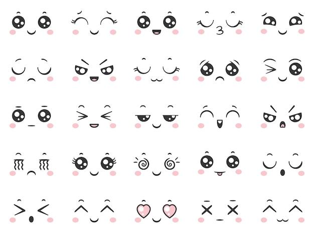 Emoticon comici del carattere di scarabocchio di sorriso sveglio del fumetto con le espressioni facciali. Vettore Premium