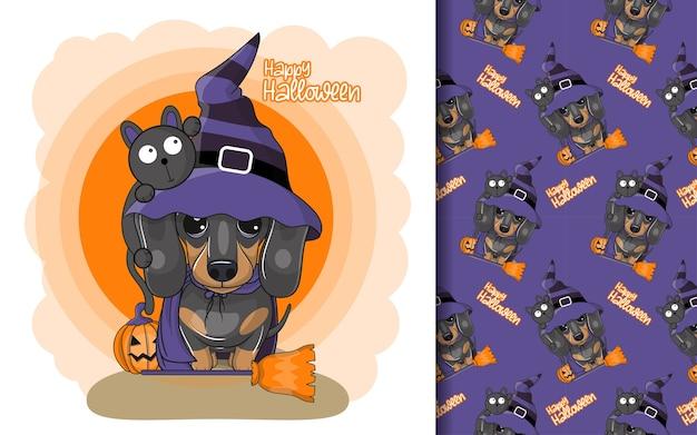Bassotto simpatico cartone animato con costume di halloween e set di pattern Vettore Premium