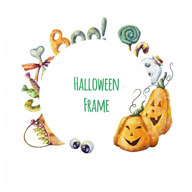 Cornice di halloween simpatico cartone animato Vettore Premium