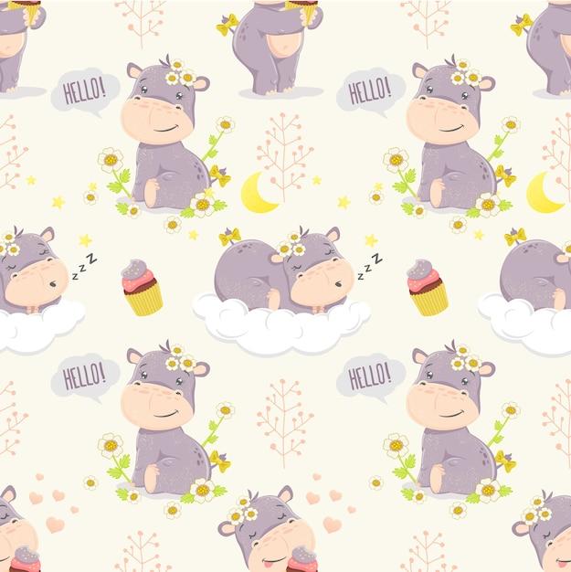 Cute cartoon hippo girl. modello senza soluzione di continuità illustrazioni per bambini. Vettore Premium