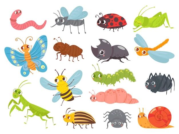 Insetti simpatico cartone animato. divertente bruco e farfalla, insetti bambini, zanzara e ragno Vettore Premium