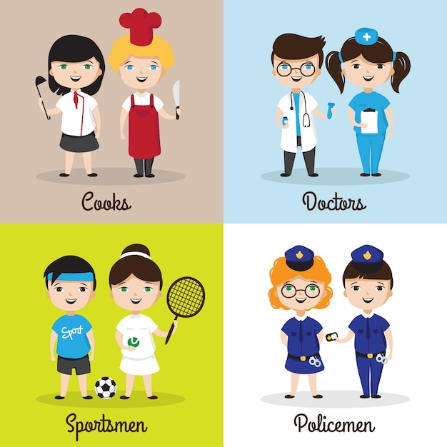 Bambini simpatici cartoni animati in diverse professioni Vettore Premium