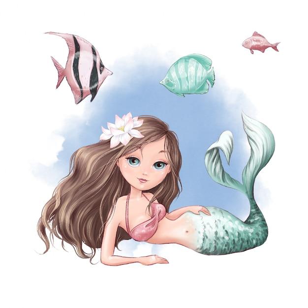 Sirena e pesce svegli del fumetto su una priorità bassa dell'acquerello Vettore Premium