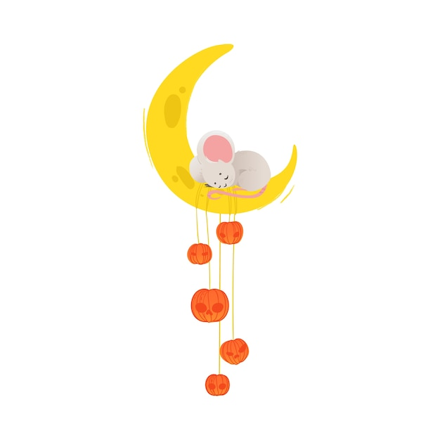 Mouse sveglio del fumetto che dorme sulla luna del formaggio con le zucche - mezzaluna gialla con adorabile topolino grigio schiacciando un pisolino. illustrazione su sfondo bianco. Vettore Premium