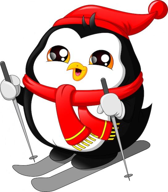 Simpatico cartone animato pinguino sci sulla neve Vettore Premium