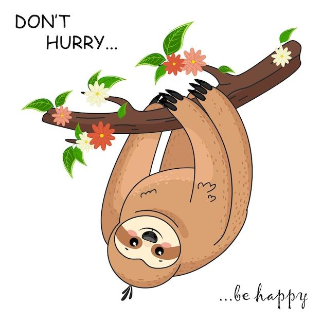 Bradipo simpatico cartone animato. divertenti simpatici animali marroni felici. bradipo carino bambino Vettore Premium