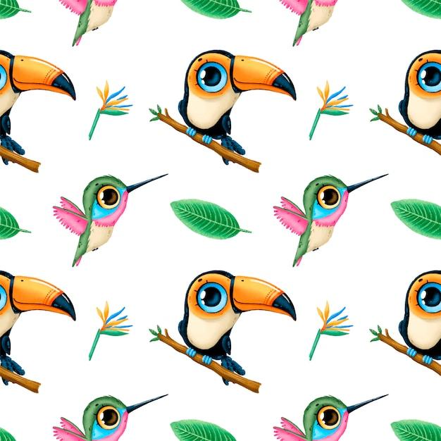 Modello senza cuciture di animali tropicali simpatico cartone animato. tucano, colibrì e foglie tropicali. reticolo senza giunte degli uccelli tropicali Vettore Premium