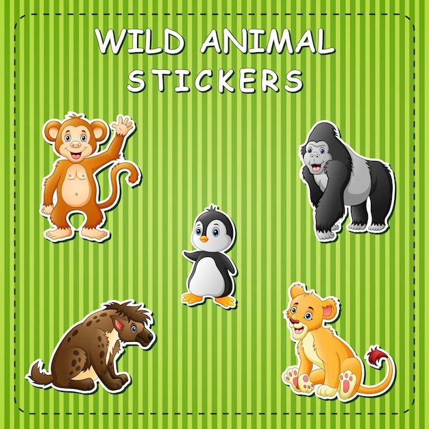 Animali selvatici simpatico cartone animato su adesivo Vettore Premium