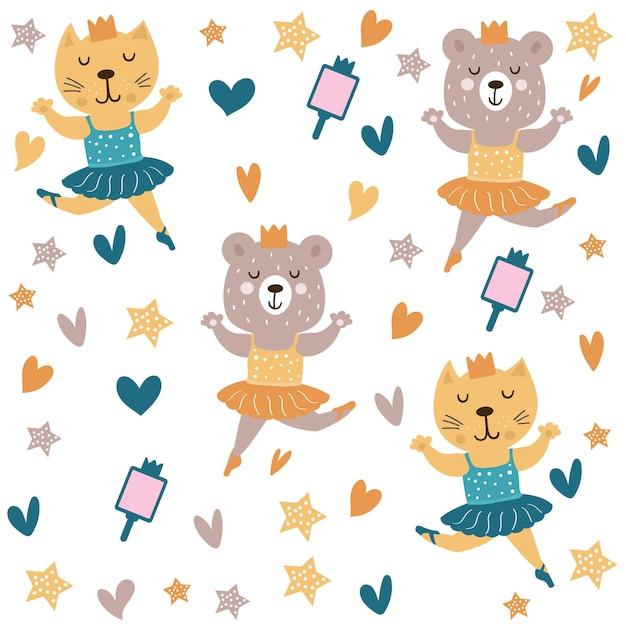 Cute cat and bear dancing ballet pattern Vettore Premium