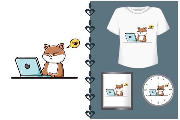 Illustrazione di cartone animato gatto carino Vettore Premium