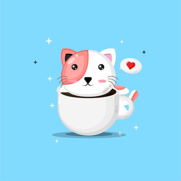 Simpatico gatto su una tazza di caffè Vettore Premium