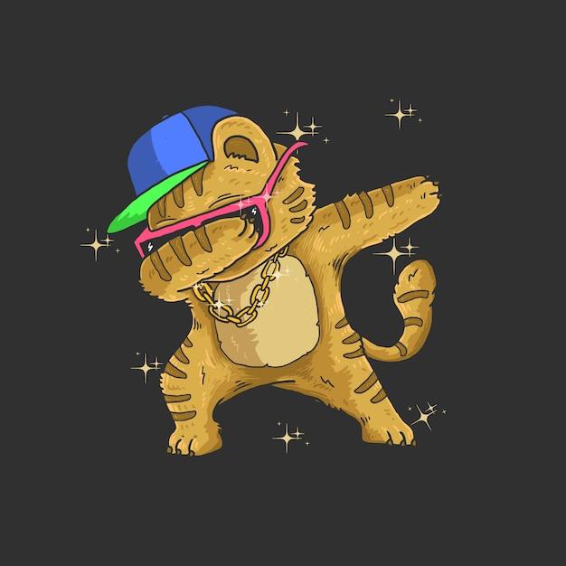 Illustrazione di danza tamponando gatto carino Vettore Premium