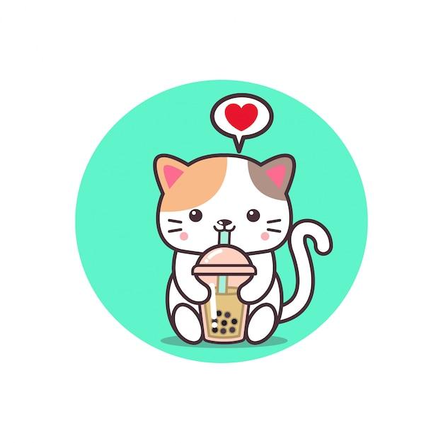 Simpatico gatto che beve tè boba Vettore Premium