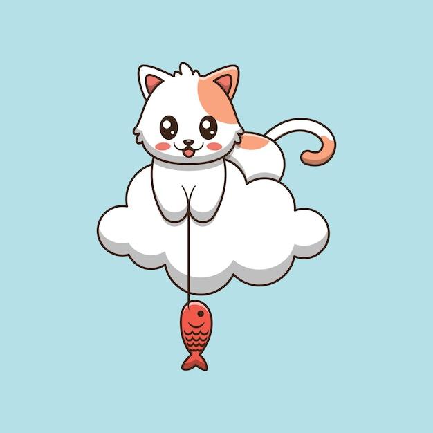 Pesca sveglia del gatto nell'illustrazione del fumetto delle nuvole Vettore Premium