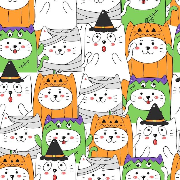 Gatto sveglio nel fondo senza cuciture del modello del costume di halloween. Vettore Premium