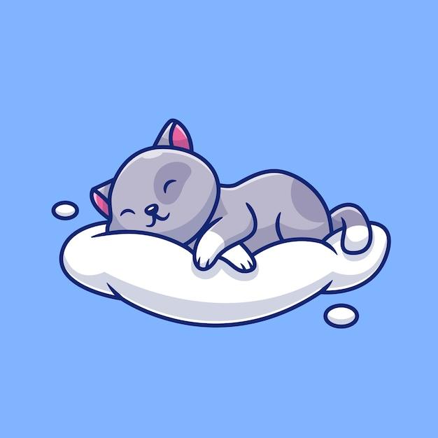 Gatto sveglio che dorme sull'illustrazione dell'icona della nuvola. concetto dell'icona di amore animale. Vettore Premium