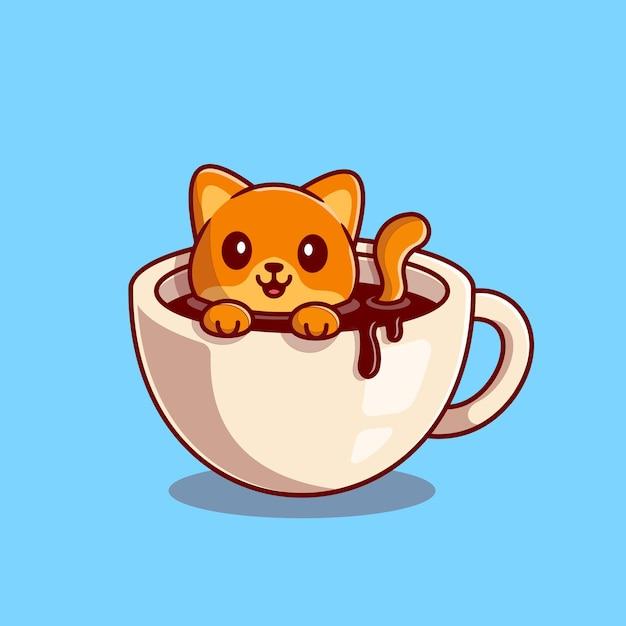 Gatto sveglio che nuota nell'illustrazione dell'icona del fumetto del caffè. bevanda animale, concetto di icona isolato. stile cartone animato piatto Vettore Premium