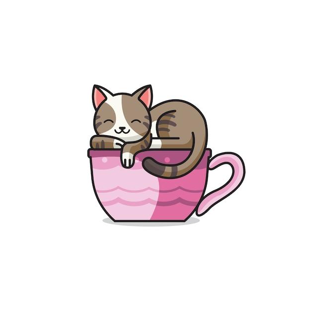 Gatto e tè svegli Vettore Premium