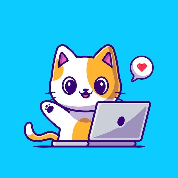 Gatto sveglio che lavora all'illustrazione dell'icona del fumetto del computer portatile. Vettore Premium