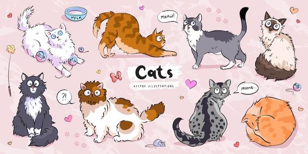 Insieme di posa differente del carattere dei gatti svegli Vettore Premium