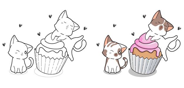 Pagina da colorare di cartoni animati carino gatti e cup cake Vettore Premium