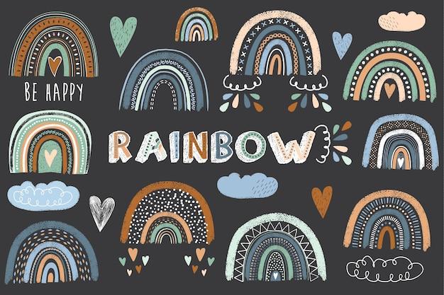 Insieme di collezioni di boho rainbow carino lavagna Vettore Premium
