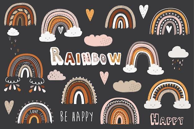 Carino lavagna doodle boho rainbow elements Vettore Premium