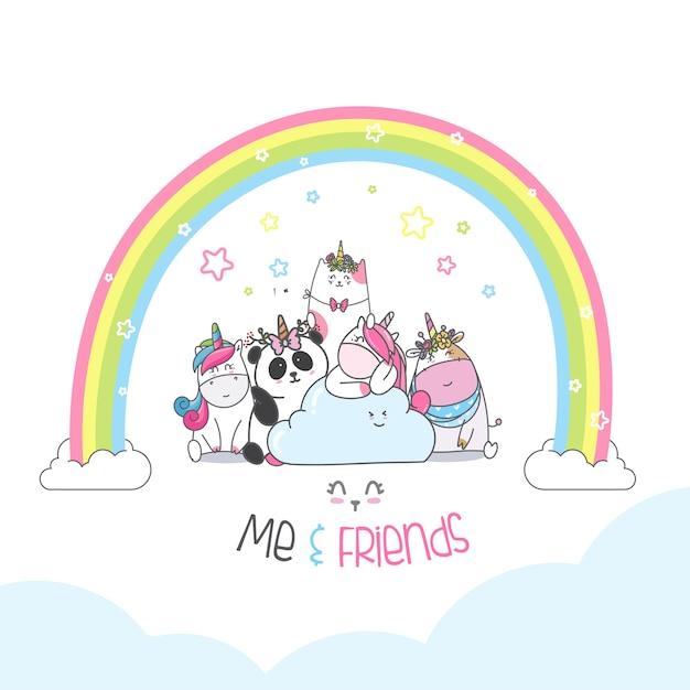 Cartone animato animale simpatico personaggio Vettore Premium