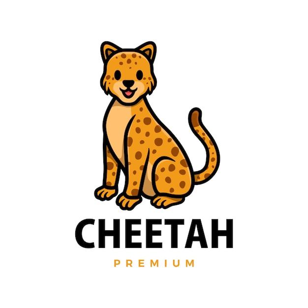 Illustrazione sveglia dell'icona di logo del fumetto del leopardo del ghepardo Vettore Premium