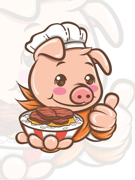 Simpatico personaggio dei cartoni animati di maiale chef presentando cibo di maiale cantonese - mascotte e illustrazione Vettore Premium