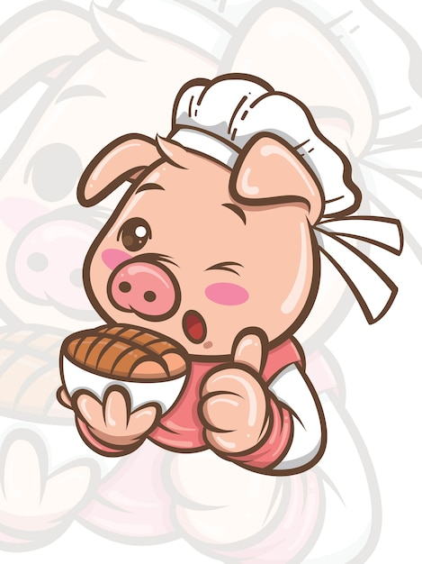 Simpatico personaggio dei cartoni animati di maiale chef presentando cibo croccante di pancetta di maiale - mascotte e illustrazione Vettore Premium