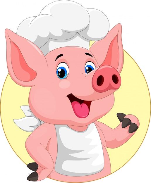 Simpatico cartone animato di maiale chef Vettore Premium