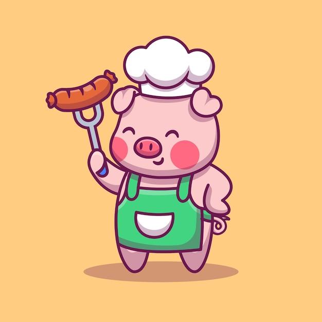 Maiale sveglio del cuoco unico che tiene l'illustrazione del fumetto della salsiccia. concetto di icona dello spazio Vettore Premium