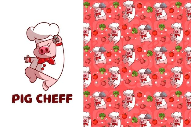 Modello senza cuciture di maiale carino cheff Vettore Premium