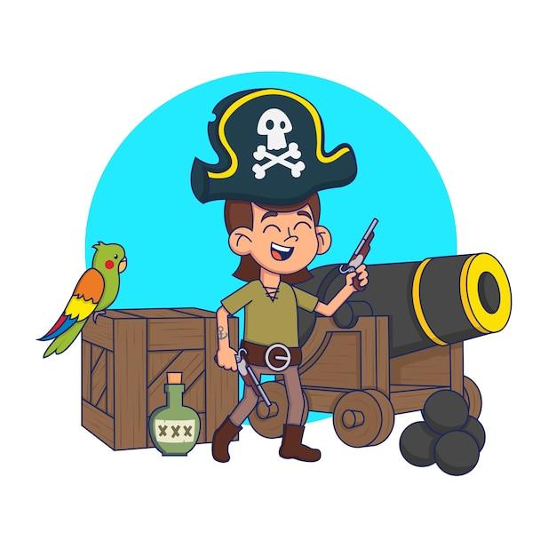 Bambino carino in un costume da pirata in un ambiente pirata. illustrazione. Vettore Premium