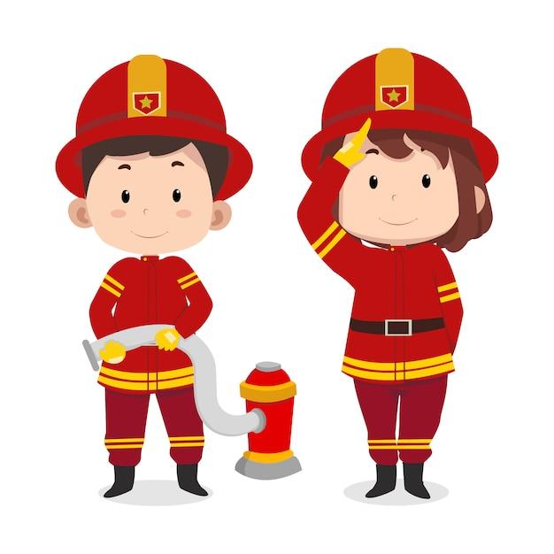 Pompiere di personaggi carino bambini Vettore Premium
