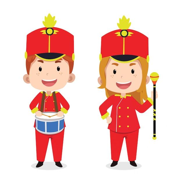 Simpatici personaggi per bambini marching band Vettore Premium