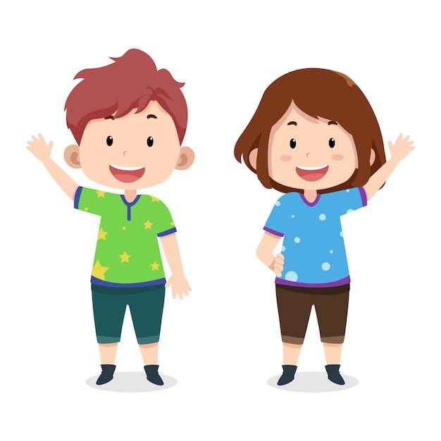 Modello di personaggi chat bambini svegli Vettore Premium