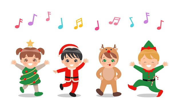 Bambini carini in costumi natalizi cantando e ballando insieme. Vettore Premium