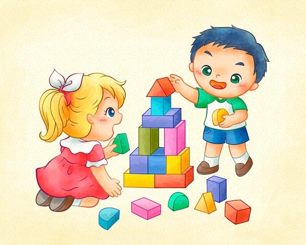 Bambini svegli che giocano blocchi colorati in linea arte Vettore Premium
